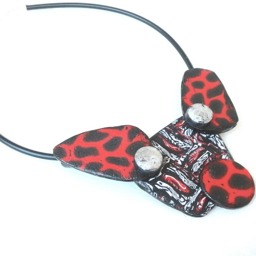 Statement Necklace, Red and Black Geometric Modern Necklace