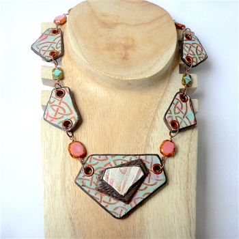 Celtic Jewellery, Green Blue and Copper Collar Necklace