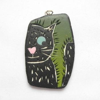 Black Cat Pendant, Cat Lover Jewellery, Cute Cat Necklace,