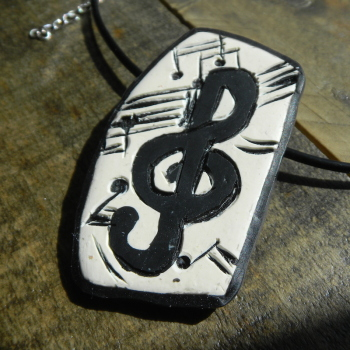 Treble Clef Necklace, Music Notes Necklace, Polymer Clay Jewellery