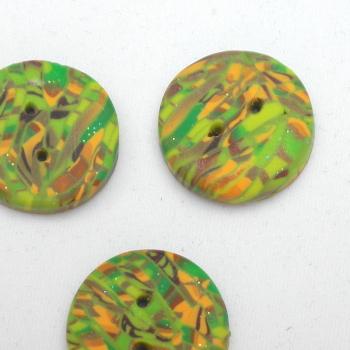 5 Green Gold Buttons Handmade