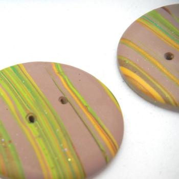 Brown Striped Polymerclay Buttons