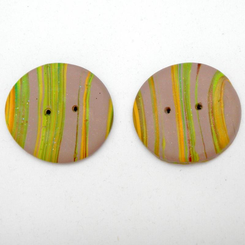 Medium brown striped handmade buttons, buttons made in UK