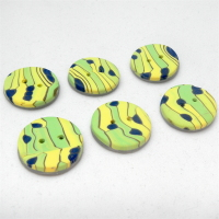 Pack of 6 Buttons- Small green and lemon buttons, line and dots