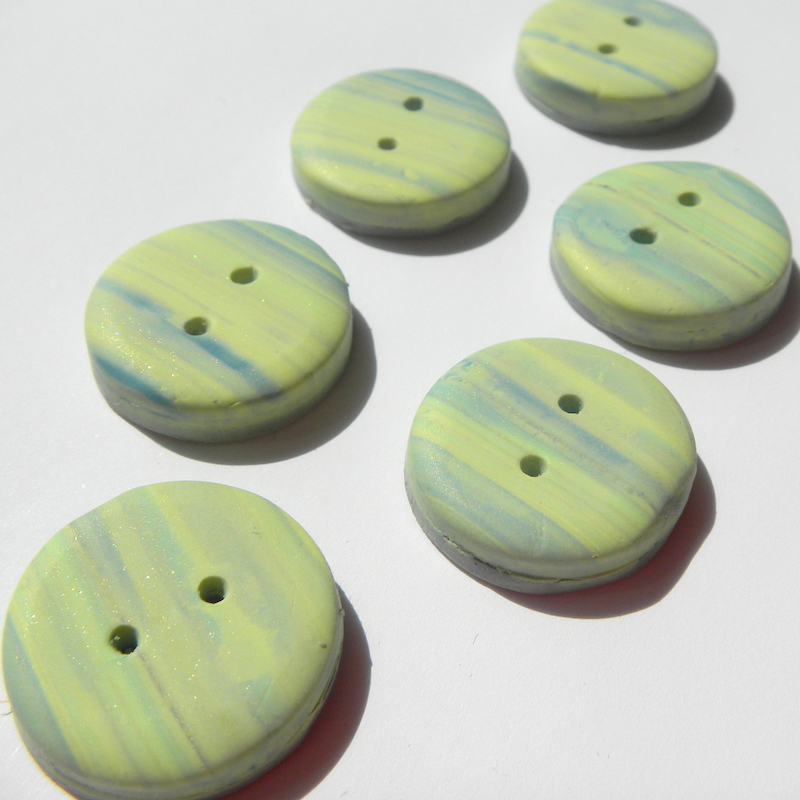 Small Green Muted Stripe Buttons, Handmade Buttons