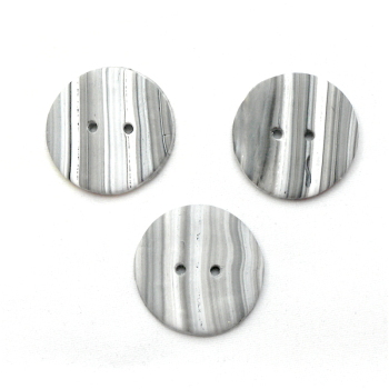 Medium grey and white striped handmade buttons made in UK
