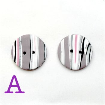 Pink and Grey Striped Buttons A