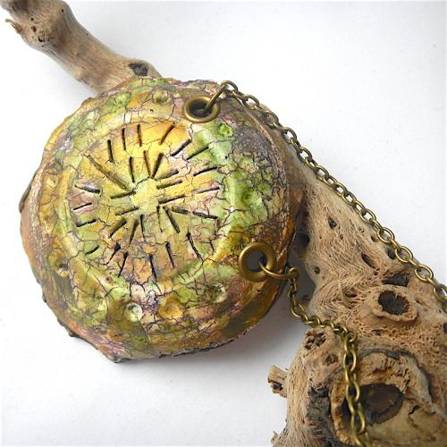 Statement Raku Pendant, Faux Ceramic Long Necklace