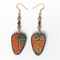 Shield Dangle Red Gold Earrings Set