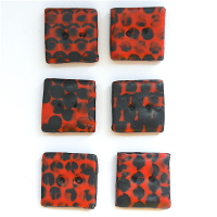 Square Buttons, Modern Graffiti Design Red and Black Buttons