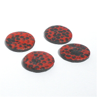 Round Red and Black Buttons, 30mm Modern Graffiti Design