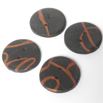 Handmade Buttons Brown Doodle