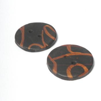 Medium Brown and Copper Buttons, 30mm Handmade Buttons