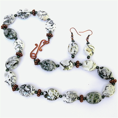 Tree Agate, Dark Green Pearl and Copper Necklace with Earrings