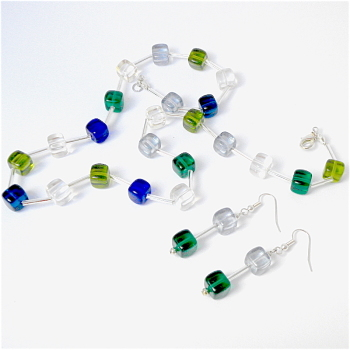 Green, Silver & Blue Cube Necklace & Earring Set-Modern Design