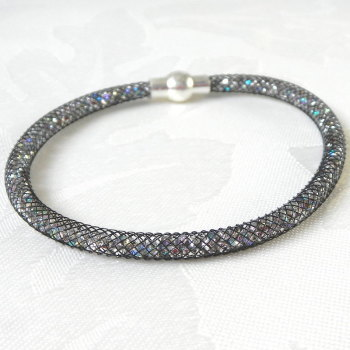 Black Mesh Sparkle Bracelet with Magnetic Clasp, Womens Gift