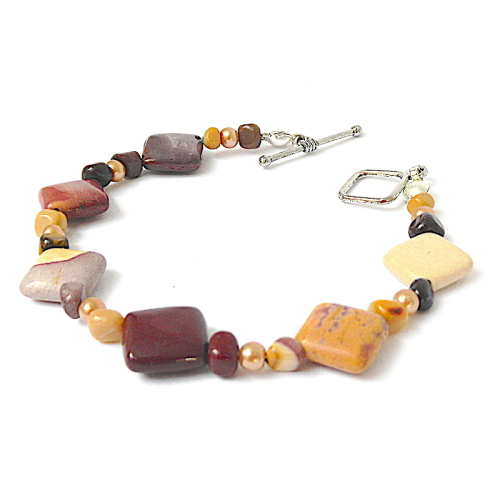 Mookaite and Jasper Gemstone Bracelet with Glass Pearls