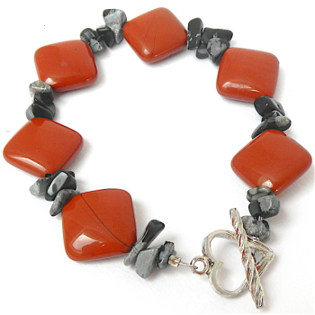 Red Jasper and Obsidian Bracelet