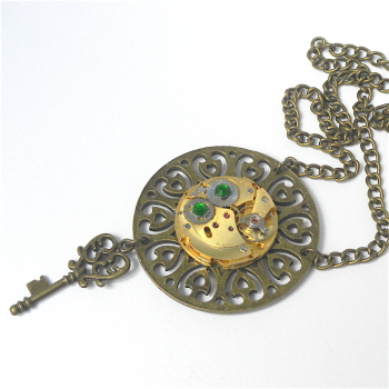 Steampunk Brass Watch and Key Pendant with Green Crystals