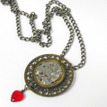Steampunk Necklace, Watch Brass Pendant with Red Heart