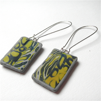 Blue Green and Grey Earrings, Polymer Clay Jewellery
