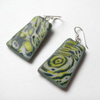 Mokume Gane Blue Green Earrings