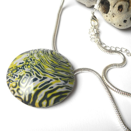 Round Blue Green and Grey Pendant, Polymer Clay Necklace