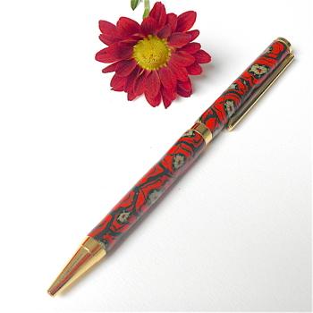 Poppy Pen, Slimline Twist Ballpoint Pen, Red and Gold Pen