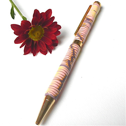 Pink and Lemon Slimline Pen, Polymer Clay Pen