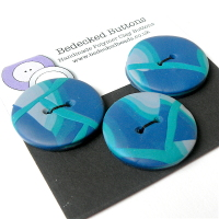 3 Medium Blue Buttons, Polymer Clay Buttons