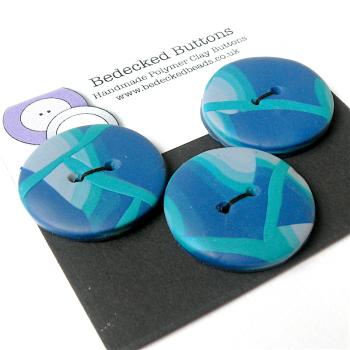 3 Medium Blue Buttons, Polymer Clay Buttons