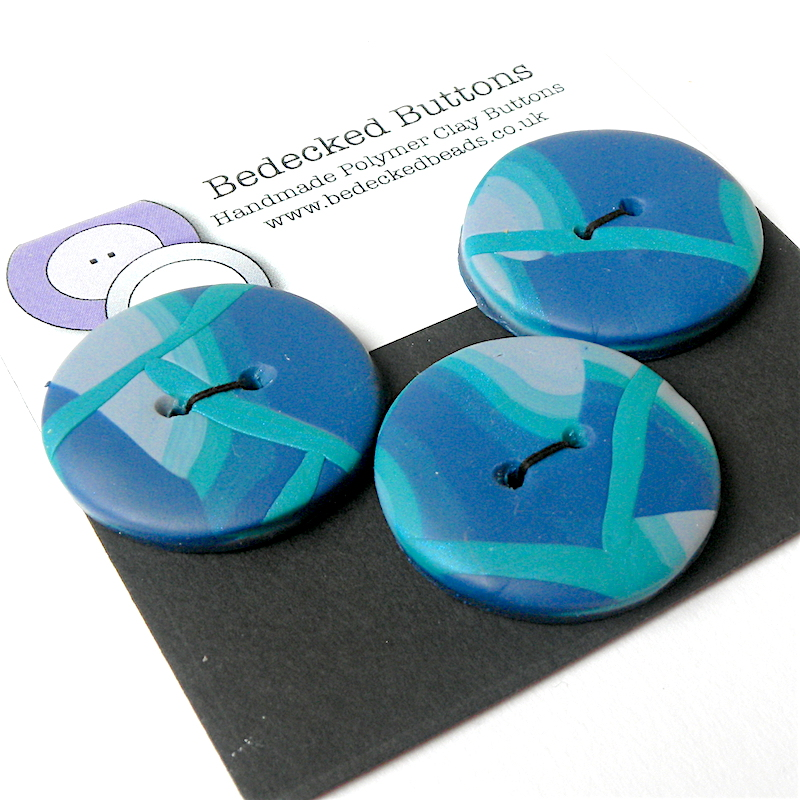 Pair of 2 Medium Blue Buttons, Polymer Clay Buttons