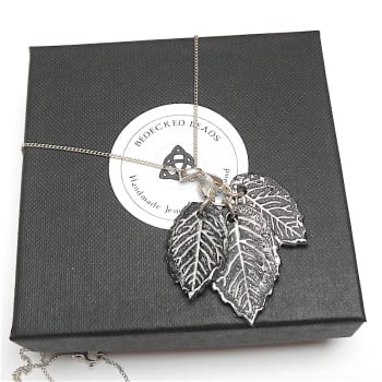 Sterling Silver Leaf Necklace Black and Silver