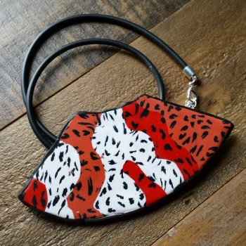 Red, Orange and White Necklace, Leopard Print  Necklace