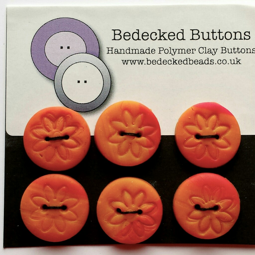 Orange Buttons, Handmade Buttons, Flower