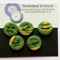 Green and Yellow Buttons, Star Buttons, Pack of 5