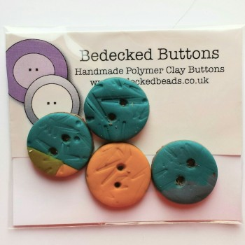 Turquoise Green Yellow Buttons, 20mm Buttons, Handmade Buttons