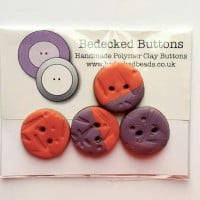 Orange and Purple Buttons, Small Patchwork Buttons