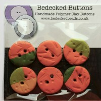 Green and Orange Buttons, 20mm, Handmade Buttons