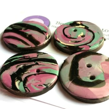 Lilac, blue and Black Buttons, Patterned Handmade Buttons