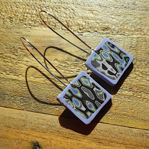 Modern Earrings, Square Lilac and Green Earrings