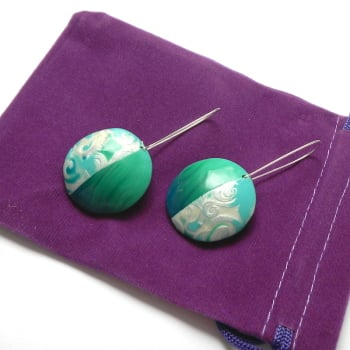 Turquoise and Green Earrings, Modern Earring Design