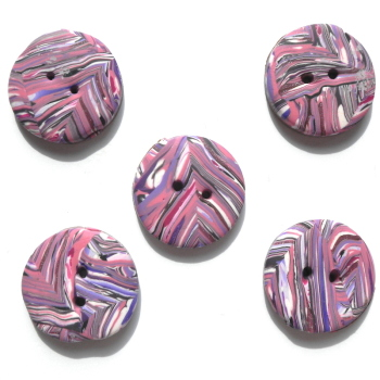 Pink and White Patterned Buttons, Small Handmade Buttons