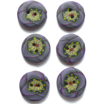 Purple Buttons, 20mm Buttons, Flower Buttons, Poppy Buttons