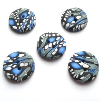 Small Blue buttons,  Blue Black and White, Handmade Buttons UK