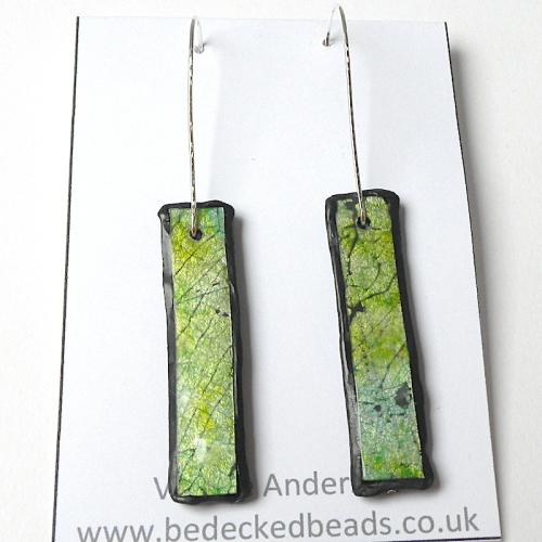 Long Bar Earrings, Green Earrings Faux Dichroic
