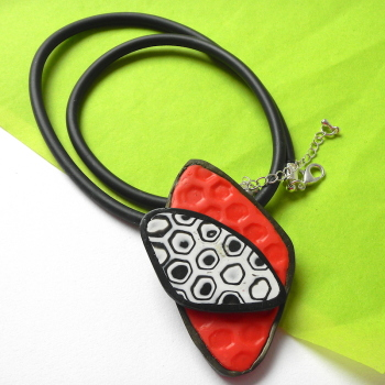Modern Geometric Pendant, Red Black and White