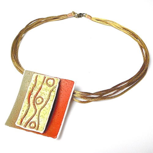 Gold, Orange and Green Pendant, Tribal Necklace