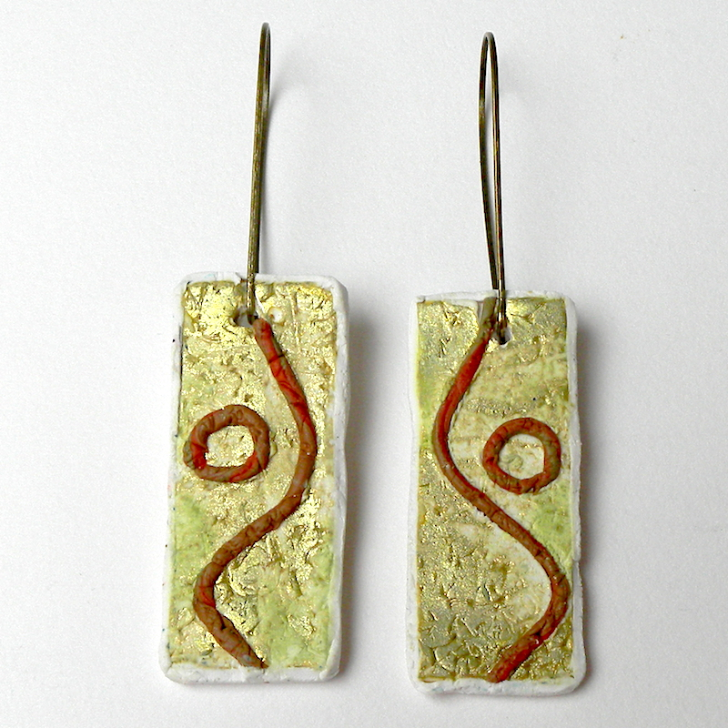 Rustic Earrings, Long Bar Earrings, Gold and Green