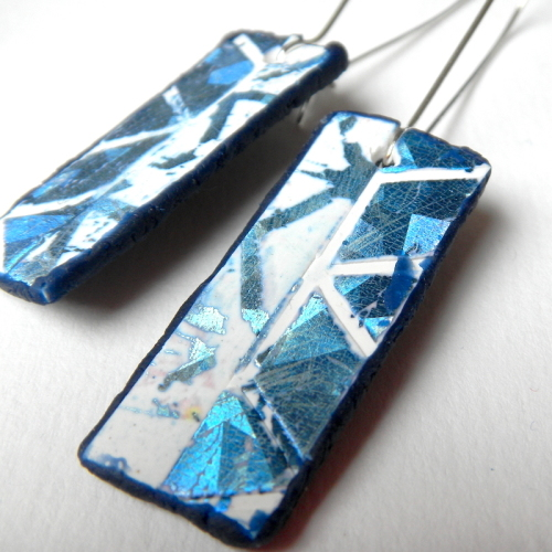 Mismatched Earrings, Blue and Silver, Long Earrings